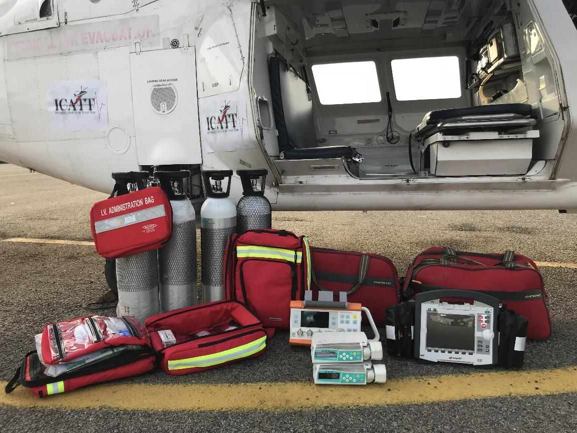 ICATT Air Ambulance Provides Oxygen Cylinders bags for Patients during transportation, best flying medical emergency services Bangalore