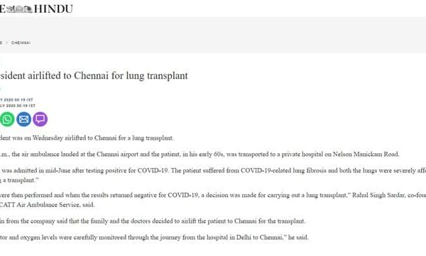 Delhi patient airlifted to chennai for lung transplant