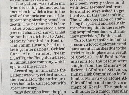 ICATT transferred a highly critical patient in record time with precision from Colombo to Cochin